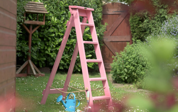 Pink wooden step ladders handmade in Sheffield